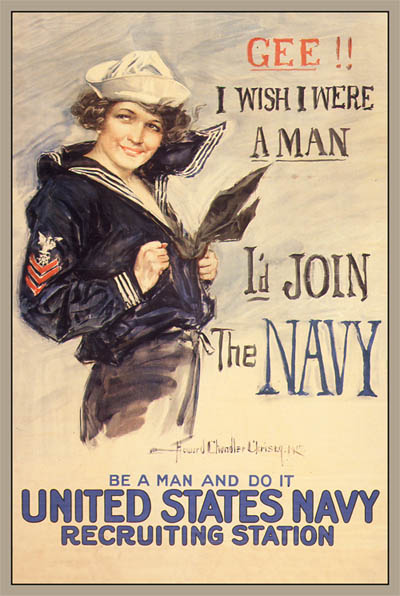 WWI Poster : US Navy : Gee I'd Join : WW1 Propaganda World War I
