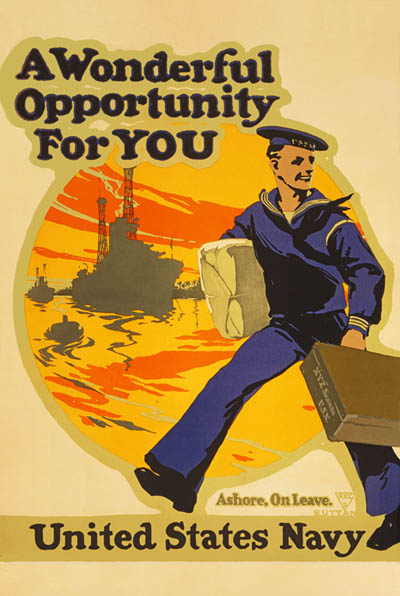 WWI Propaganda Poster : US Navy :: A Wonderful Opportunity For You : WW1 World War I