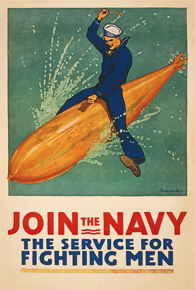 WWI Poster : US Navy : Join the Service for Fighting Men : WW1 Propaganda World War I