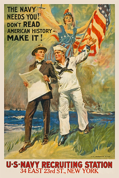 WWI Poster : US Navy : The Navy Needs You : WW1 Propaganda World War I