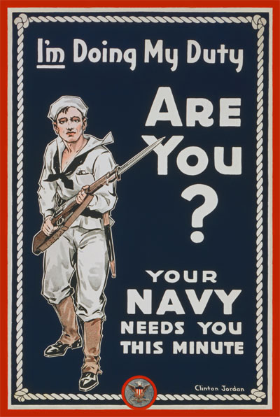 WWI Poster : US Navy : I'm Doing My Duty : WW1 Propaganda World War I