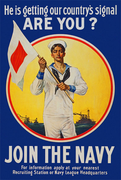 WWI Poster : US Navy : Getting Our Country's Signal : WW1 Propaganda World War I