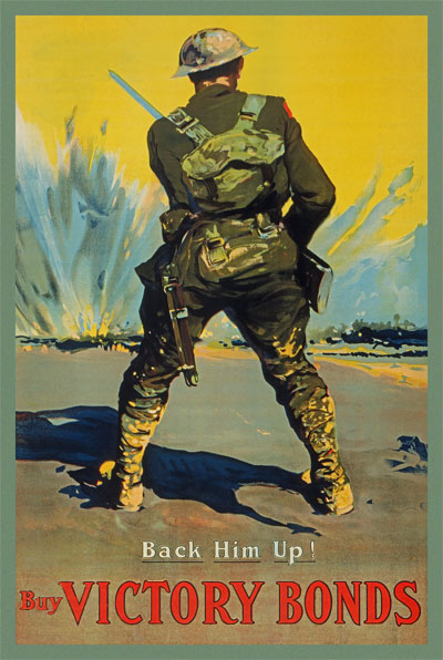WWI Poster : War Bonds : Back Him Up Buy Victory Bonds : WW1 Propaganda World War I