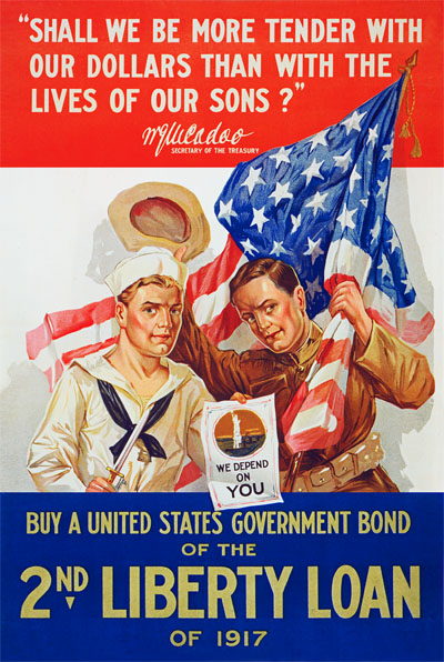 WWI Poster : US Army : 2nd Liberty Loan of 1917 : WW1 Propaganda World War I