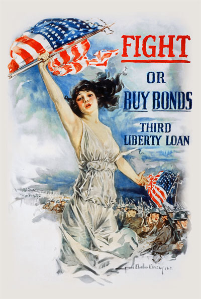 WWI Poster : US Army : Fight or Buy Bonds, Third Liberty Loan : WW1 Propaganda World War I
