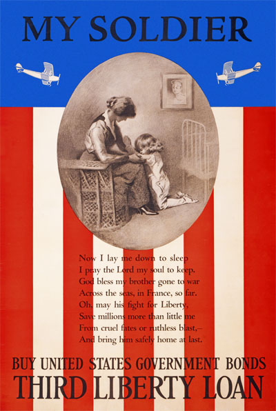 WWI Poster : War Bonds : The My Soldier Prayer : WW1 Propaganda World War I